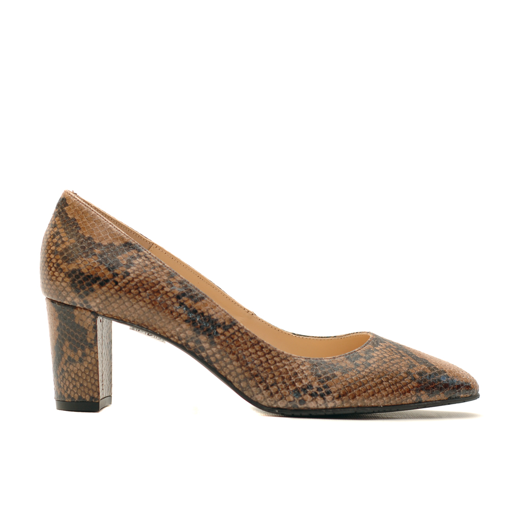 The Bag Brown Snake Print High Heel Pumps