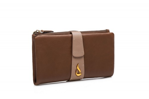 Abbacino Peratta large brown leather wallet