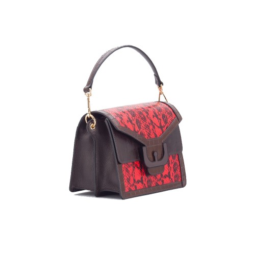 Coccinelle-Ambrine-Red-Snake-Print-shoulder-bag-1