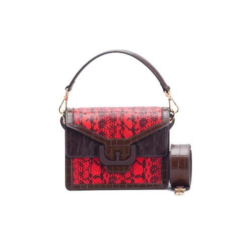 Coccinelle Ambrine Red Leather Snake Print Shoulder Bag
