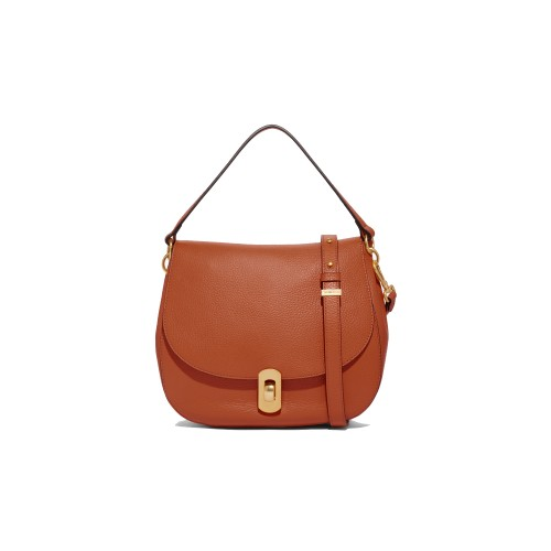 Coccinelle Zaniah Tan Leather Shoulder Bag