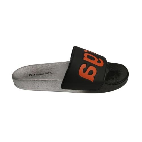 Superga 1908 Silver Black Orange Slides