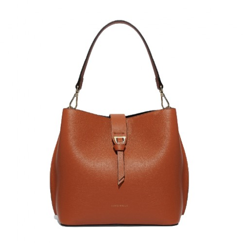 Coccinelle alba medium tan leather shoulder bag