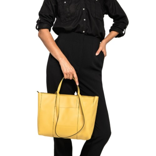 Gianni-Chiarini-Superlight-Zip-Medium-Yellow-Shopper-Bag-2