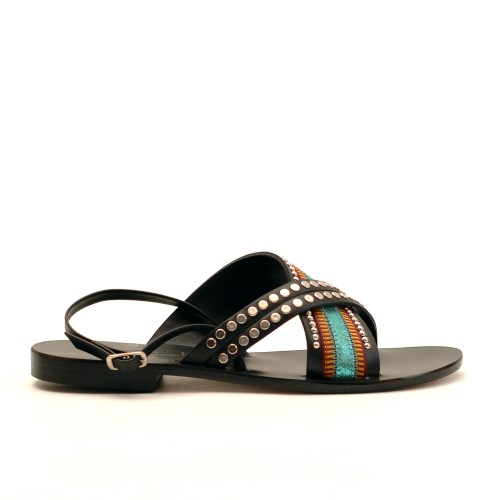 Nanni Turquoise Leather Flat Sandals