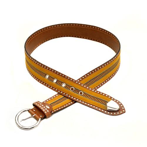 Nanni Yellow Leather Belt-1