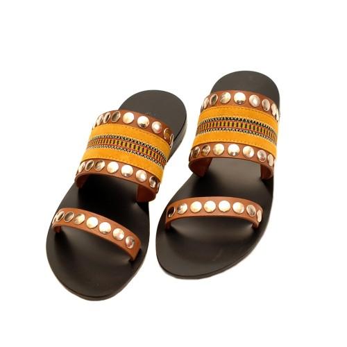 Nanni-Yellow-Leather-Flat-Sandals-2
