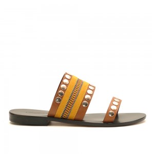 Nanni Yellow Leather Flat Sandals