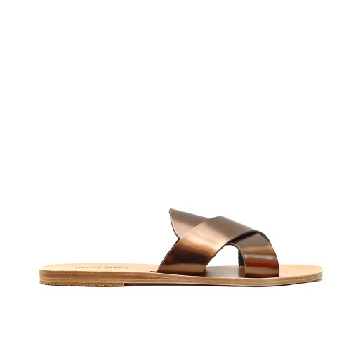 Greek Salad MED Metal Brown Leather Slip Ons