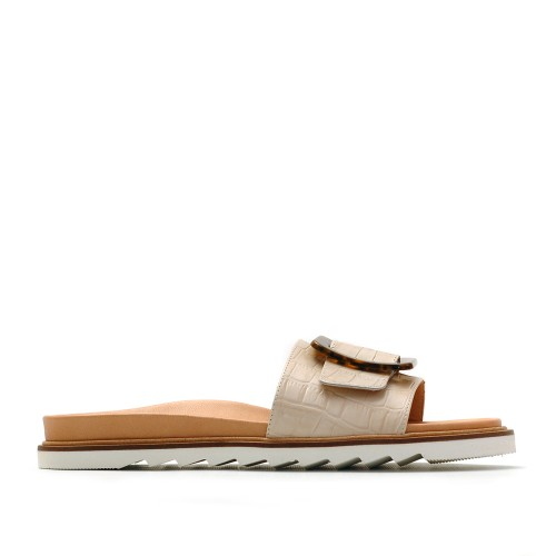 KMB Leather Flatform Slippers