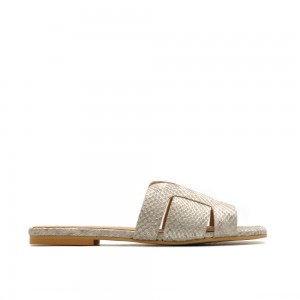 KMB Silver Snake Print Leather Sandals
