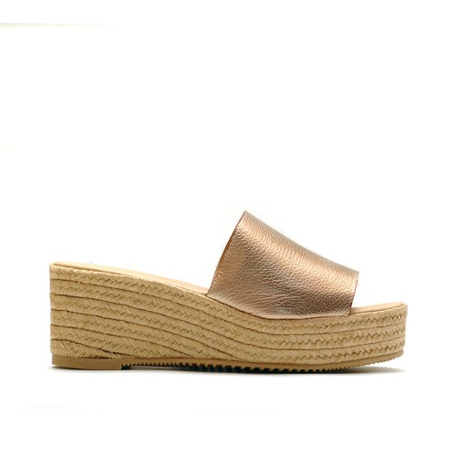 Maypol Platino Leather Platform Slippers