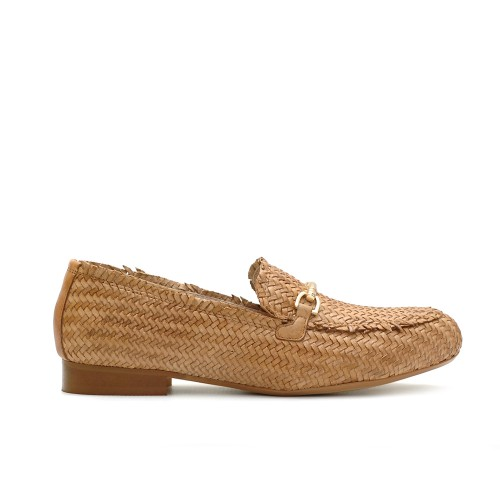 Paola Ferri Woven Leather Tan Loafers