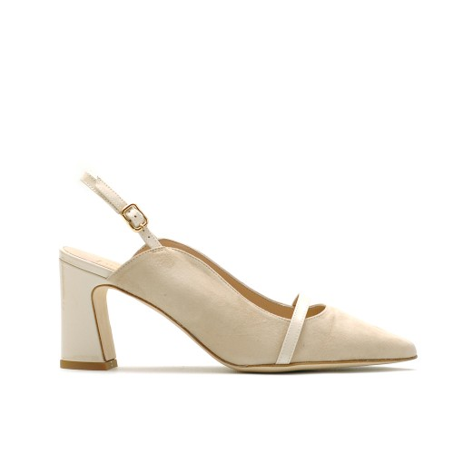 The Bag Beige Leather Slingback Pumps