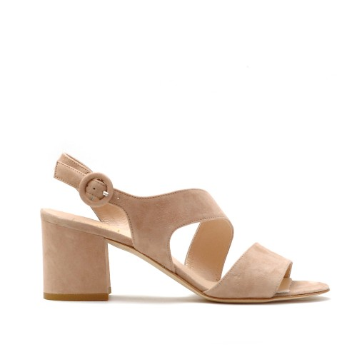 The Bag Beige Suede Block Heel Sandals
