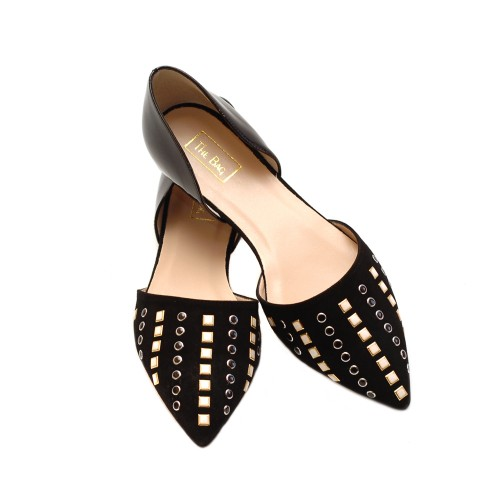 The-Bag-Black-Flats-Black-And-White-Studs-2
