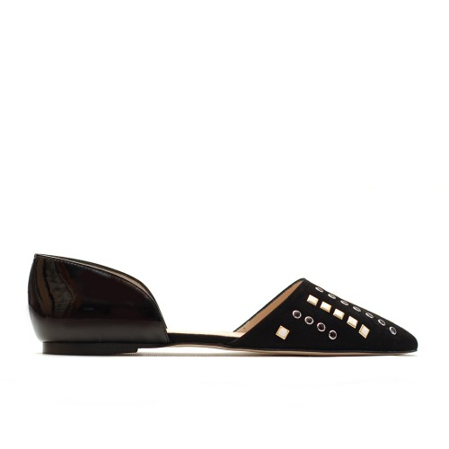 The Bag Black Flats Black And White Studs