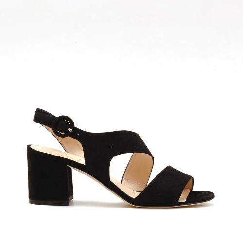 The Bag Black Suede Block Heel Sandals