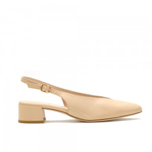 The Bag Nude Leather Slingback Pumps