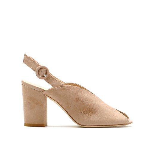 The Bag Nude Peeptoe Block Heel Sandals