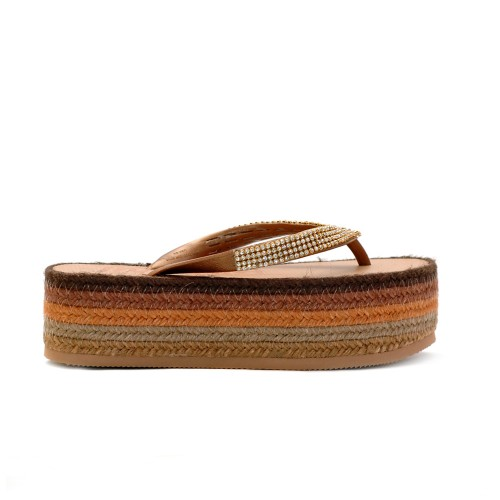 INDAIA BROWN EMBELLISHED FLIP FLOP FLATFORMS