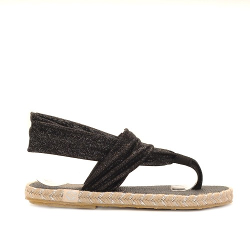 Nalho Black Elastic Band Soft Sole Sandals