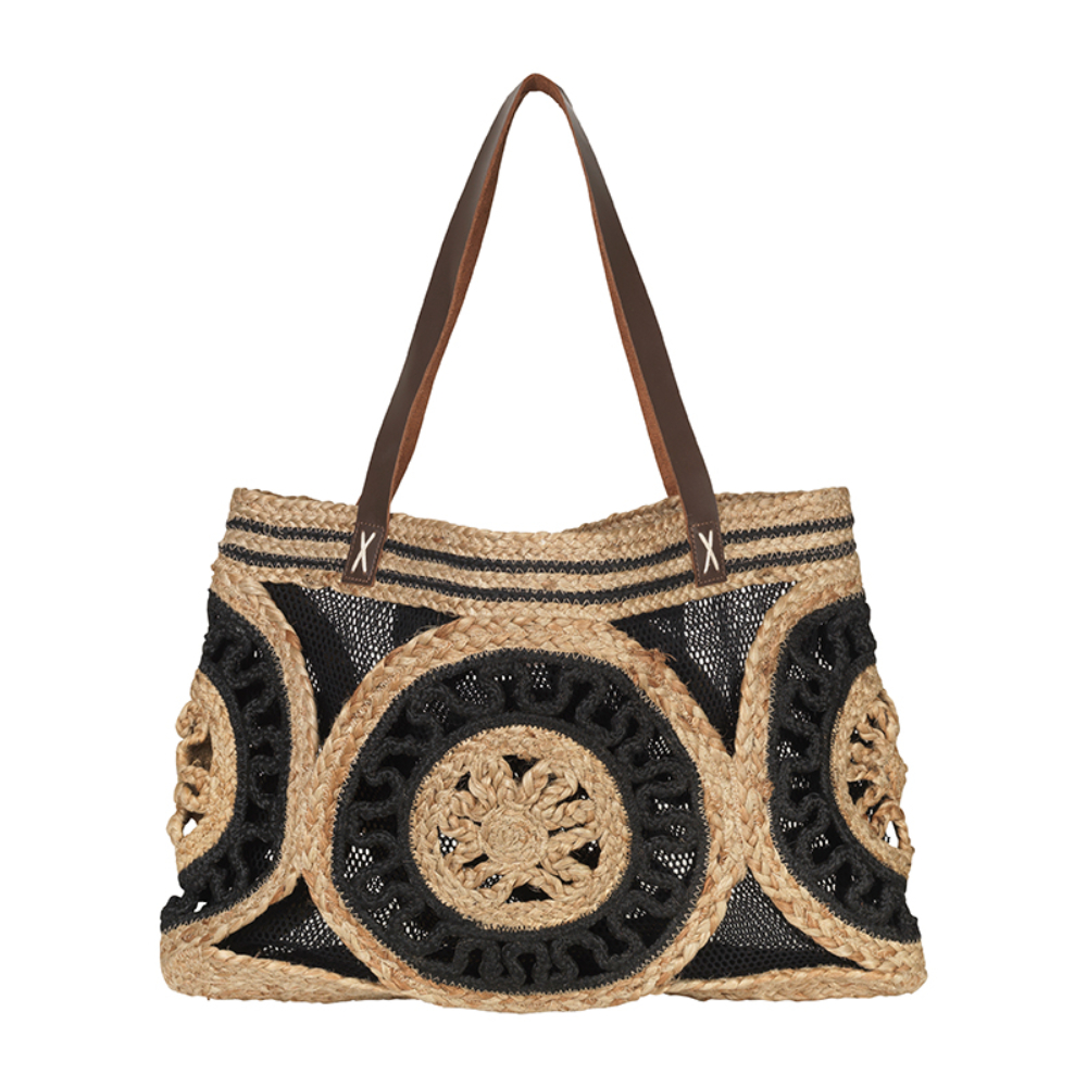 Unmade Jute Black Net Handbag