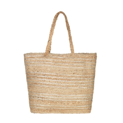 Unmade Jute Holiday Bag With Stripes