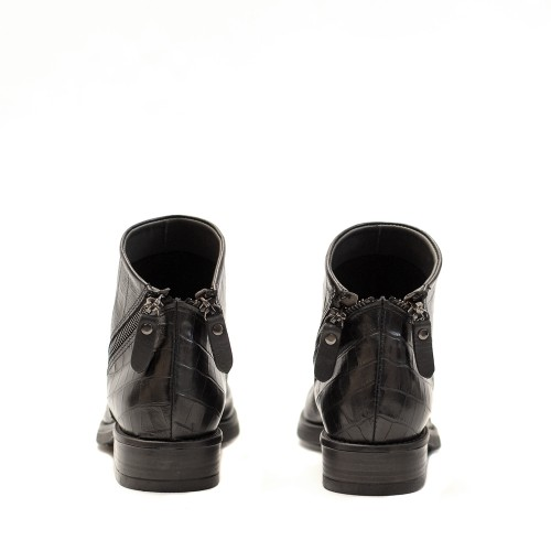 Lilimill Crocco Print Black Ankle Boots 2