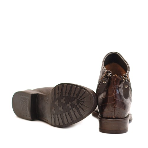 Lilimill Crocco Print Brown Ankle Boots 2