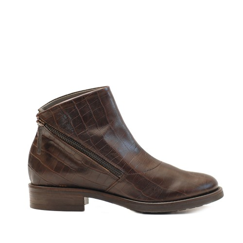 Lilimill Crocco Print Brown Ankle Boots