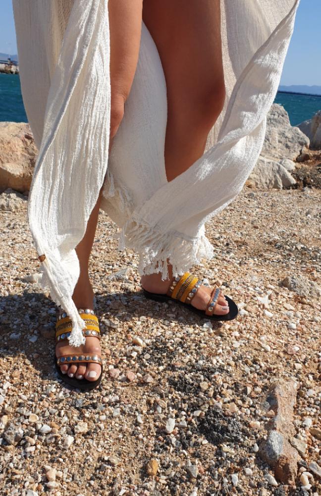 Nanni-Yellow-Leather-Flat-Sandals-6