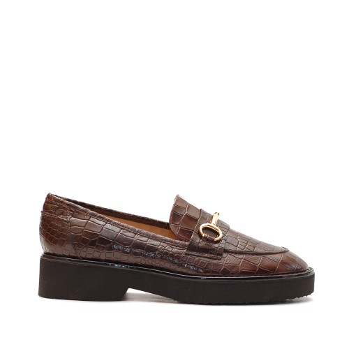 The Bag Crocco Print Leather Loafers