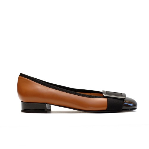 The Bag Tabac Leather Low Pumps