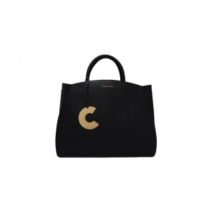 Coccinelle-Concrete-Medium-Black-Leather-Handbag