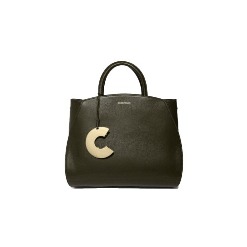 Coccinelle Concrete Medium Olive Green Leather Handbag