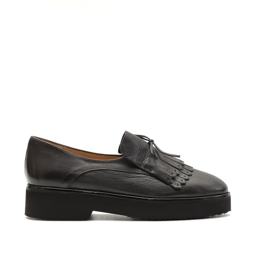 The Bag Black Fringed Loafers