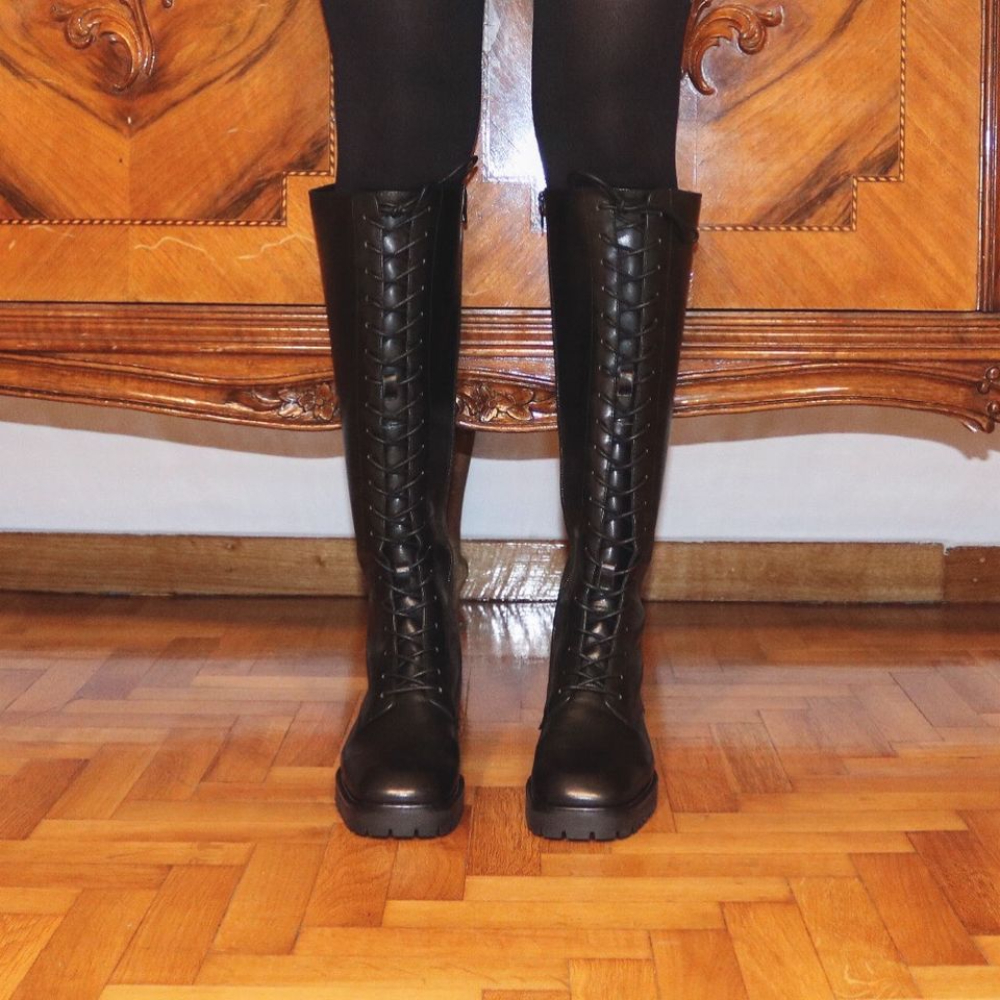 E8 By Miista Reese Lace Up Black Boots (1)