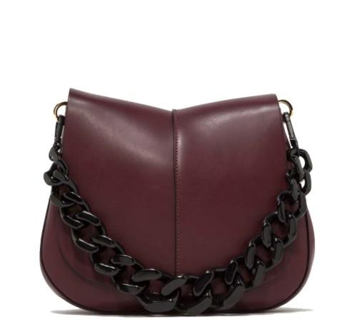 Gianni Chiarini Helena Chain Handle Burgundy Leather Bag