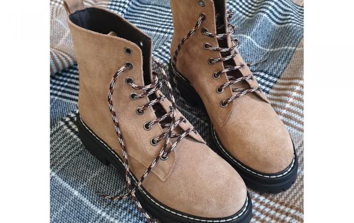 KMBBeige Suede Lace Up Boots