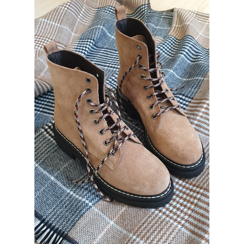 KMB Beige Suede Lace Up Boots