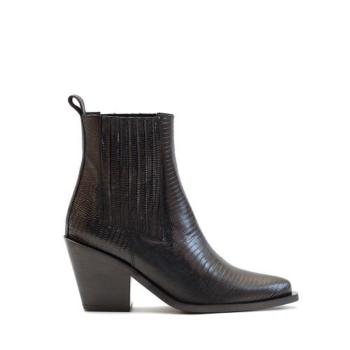 KMB Black Western Ankle Boots