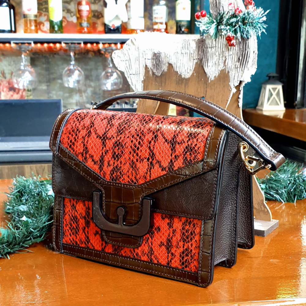 Coccinelle Ambrine Multi Print Leather Shoulder Bag