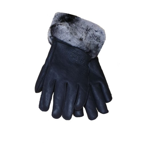Black Shearling Leather Gloves 1
