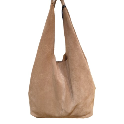 Kate Koll Desert Sand Suede Hobo Bag