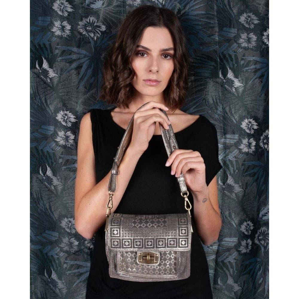 Caterina Lucchi Metallic Suede Mini Bag