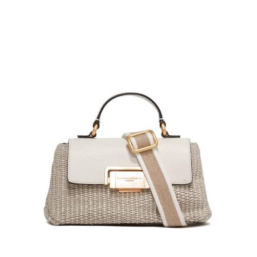 Gianni Chiarini Rossella Leather And Straw Handbag