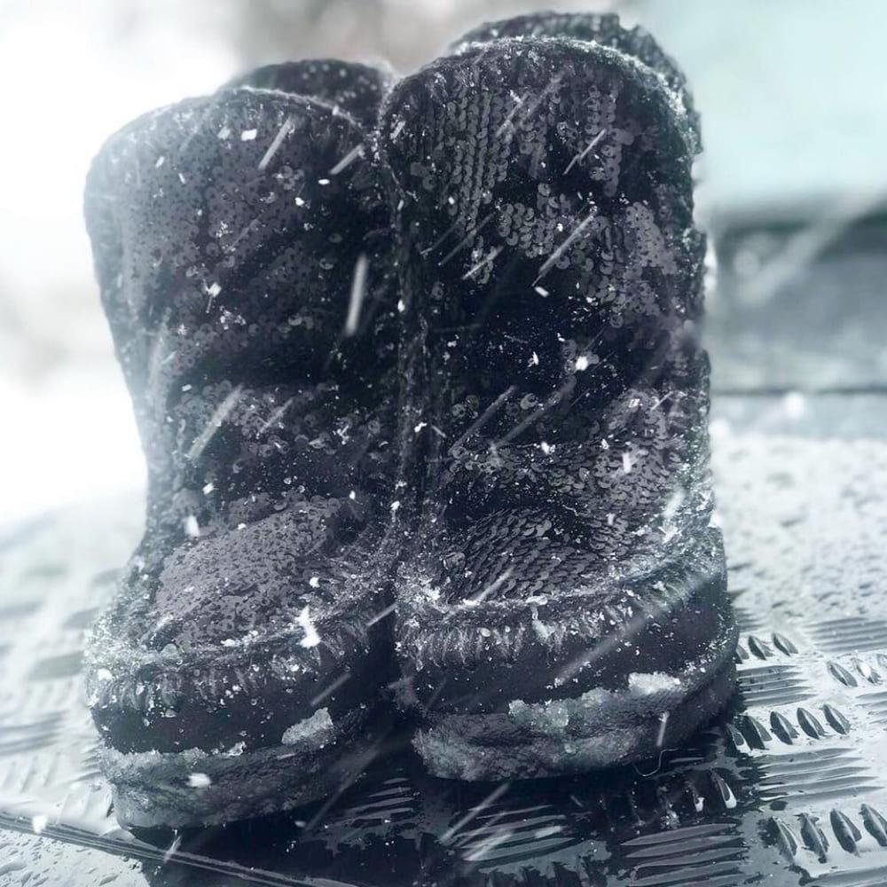 Mou Boots Eskimo Sequins Black Inner Wedges