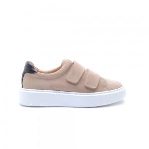 KMB Beige Suede Sneakers Velcro Closure