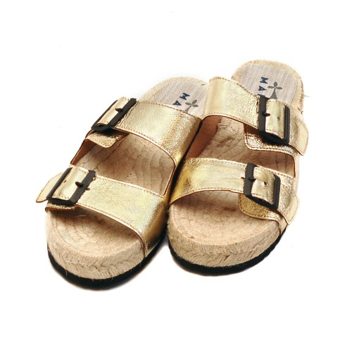 Manebi Nordic Cracked Gold Leather Slippers